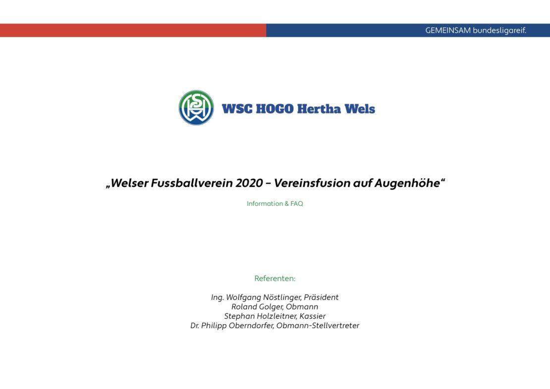 WSC Hertha lädt zu Fusions-Infoveranstaltung