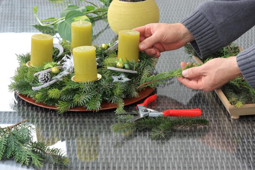 Adventkranzbinden im Zuge der Welser Weihnachtswelt 2019