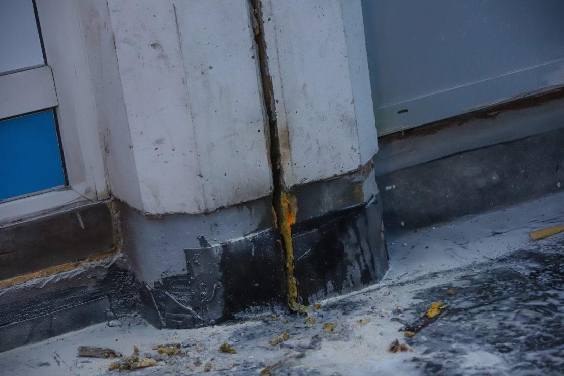 Neuerlicher Brand einer Dehnfuge auf einer Baustelle in Wels-Innenstadt