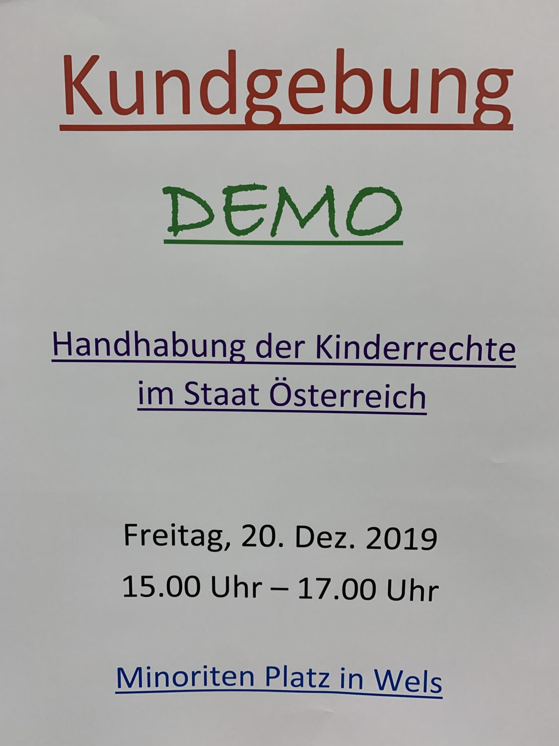 Demo in Wels