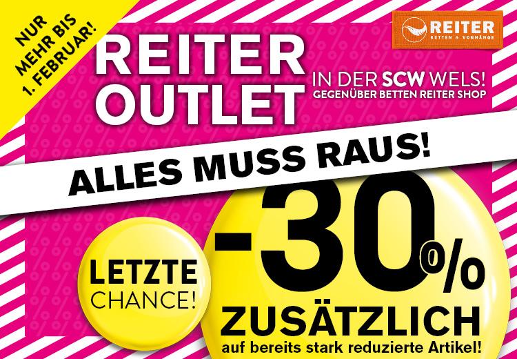 Betten Reiter OUTLET noch bis 01. Feb. in der SCW Shoppingcity Wels