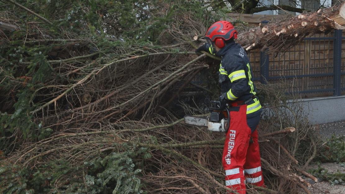 """Orkantief """"Sabine"""" zieht über Oberösterreich und sorgt für viele Einsätze und Stromausfälle"""
