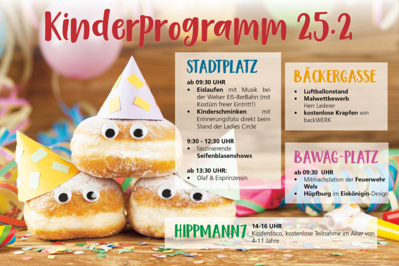 Buntes Kinderprogramm am Faschingsdienstag in Wels
