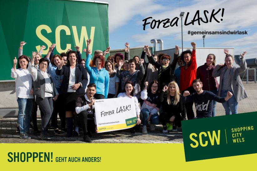 SCW Shoppingcity Wels unterstütz LASK gegen ManUnited.