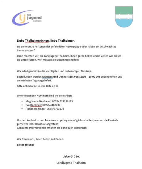 Landjugend Thalheim hilft
