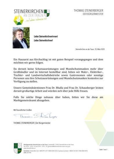 Aufruf von Steinerkirchen