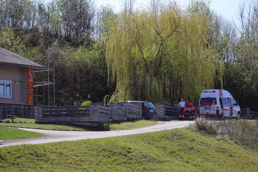 Notarzthubschrauber nach Sturz von Gerüst in Sipbachzell im Einsatz