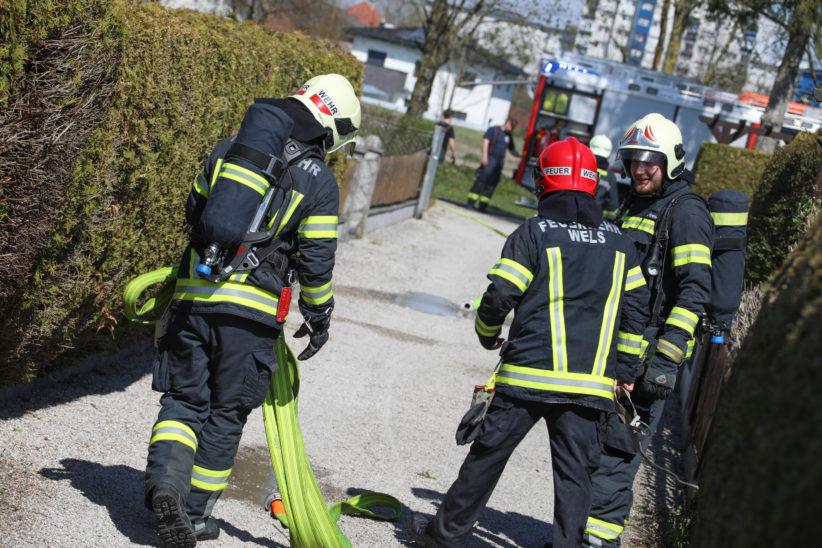 Brand einer Thujenhecke in einer Kleingartenanlage in Wels-Waidhausen