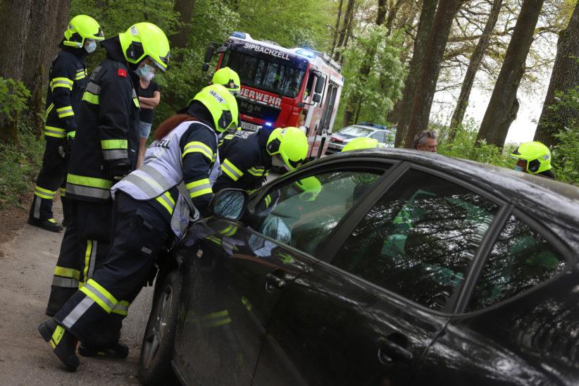 Auto prallt in einem Waldstück bei Weißkirchen an der Traun gegen Bäume