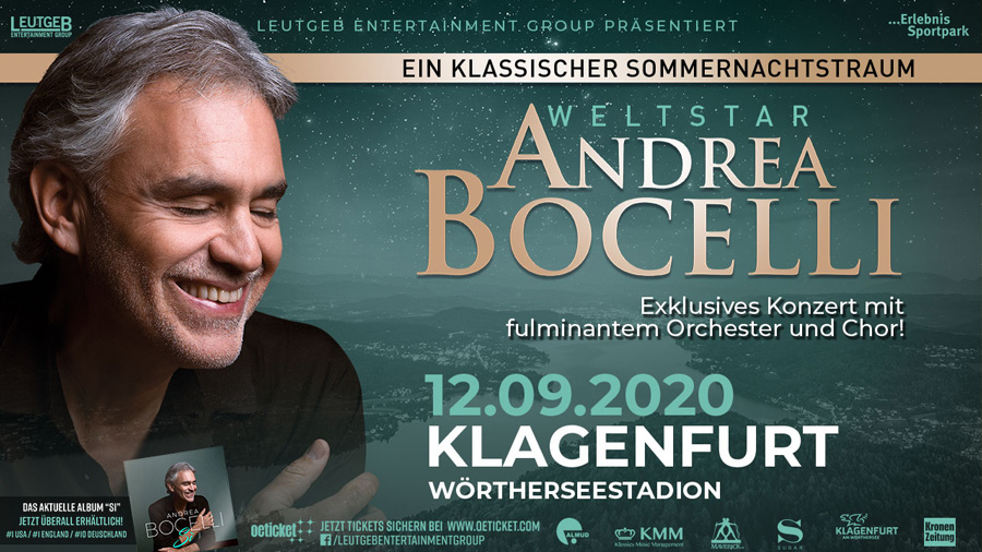 Konzert von Andrea Bocelli in Klagenfurt abgesagt