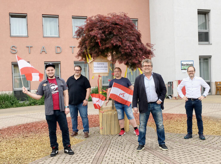 Corona-Maibaum in Marchtrenk