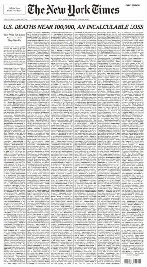 """""""New York Times"""" gedenkt US-Corona-Opfern mit spezieller Titelseite"""
