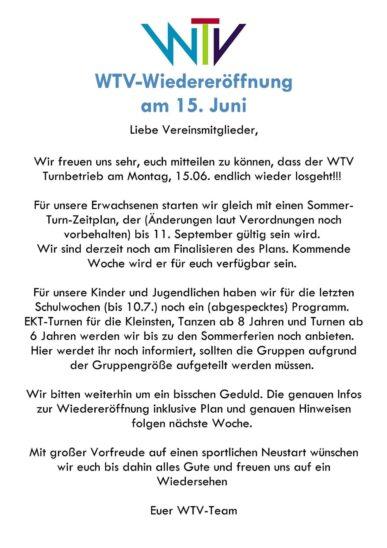 WTV Wiedereröffnung
