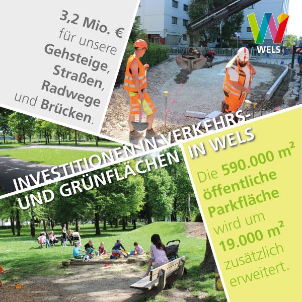 Verkehr und Grünflächen in Wels