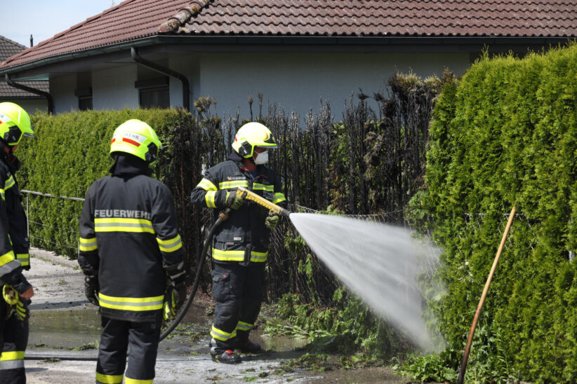 Brand einer Thujenhecke in Weißkirchen an der Traun