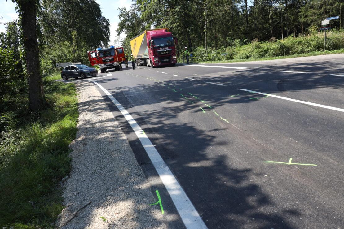 Verkehrsunfall auf Wiener Straße in Edt bei Lambach führt zu sieben Kilometer langem Stau