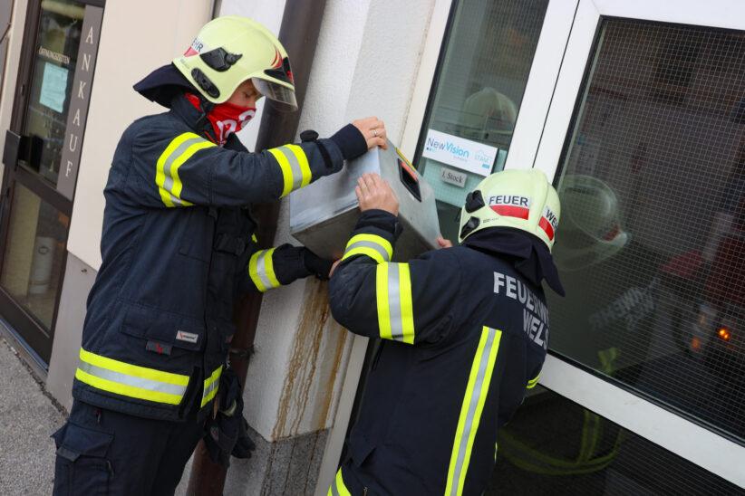 """""""Feuerinferno"""" im Wandaschenbecher eines Wohn- und Geschäftshauses in Wels-Innenstadt"""