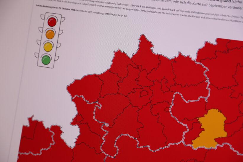 Corona-Ampel in Oberösterreich im gesamten Bundesland auf Rot