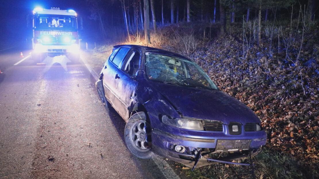 Autoüberschlag nach Wildunfall auf Gmundener Straße in Stadl-Paura fordert zwei Verletzte