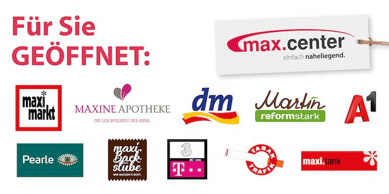 Geöffnete Shops im max.center