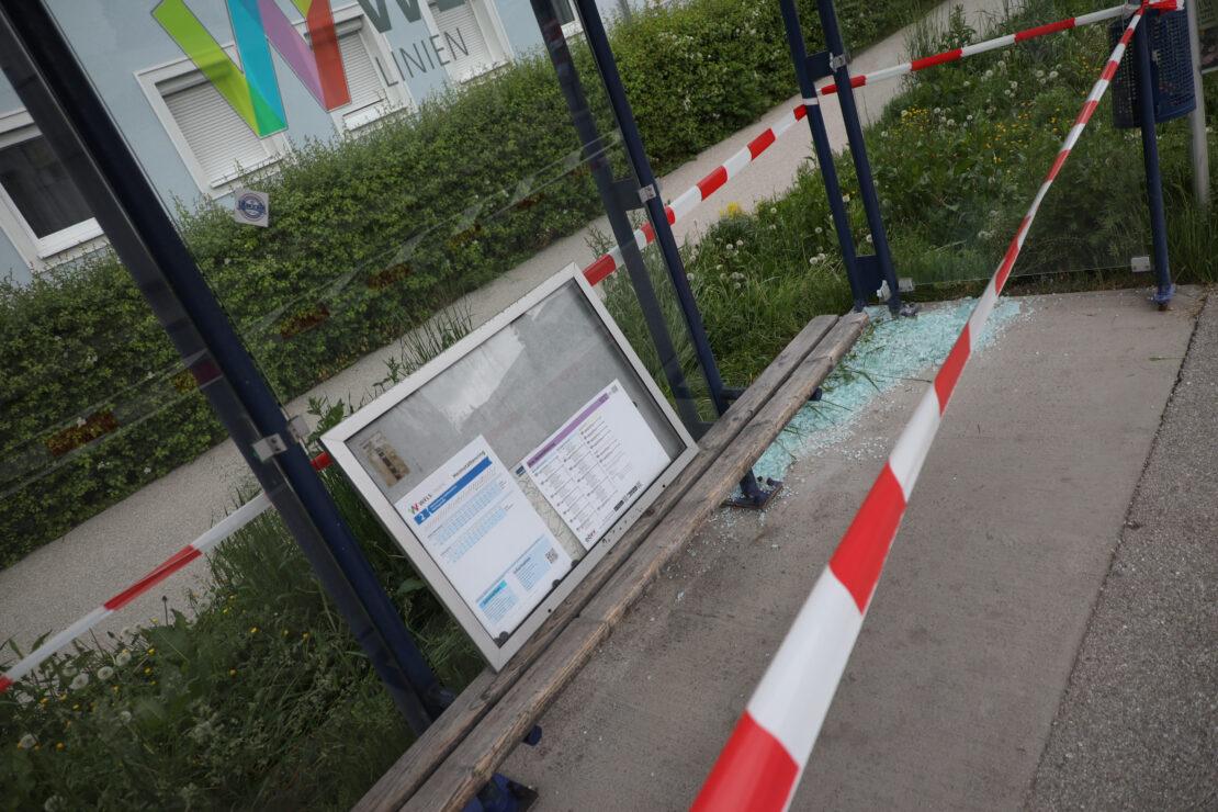 Glassplitter: Einsatzkräfte der Feuerwehr bei Bushaltestelle in Wels-Vogelweide im Einsatz