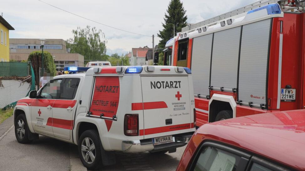 Personenrettung: Verletzte Person in Wels-Innenstadt nach Sturz von Einsatzkräften aus Pool gerettet