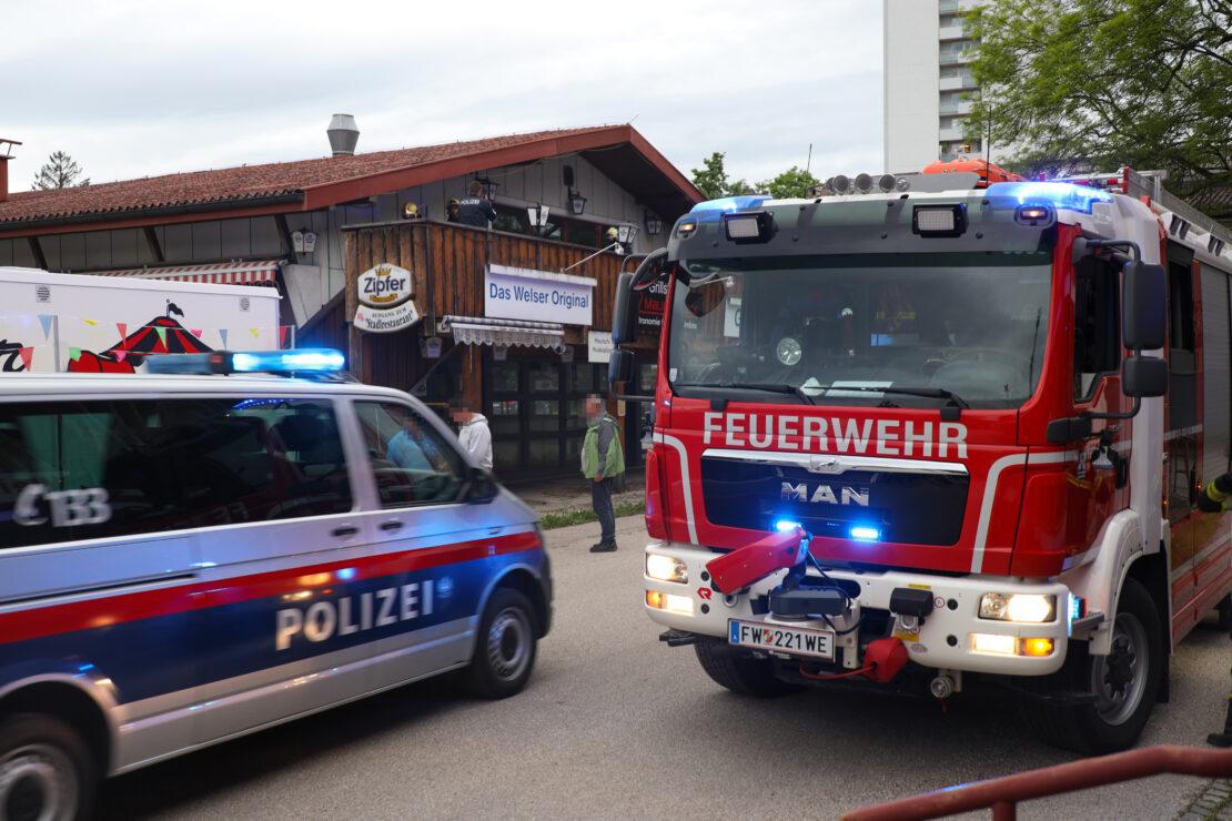 Einsatz der Feuerwehr bei Kleinbrand im Messegelände in Wels-Innenstadt