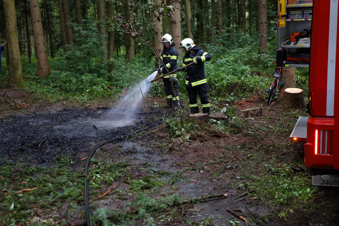 Löscheinsatz in einem Waldstück in Wels-Oberthan
