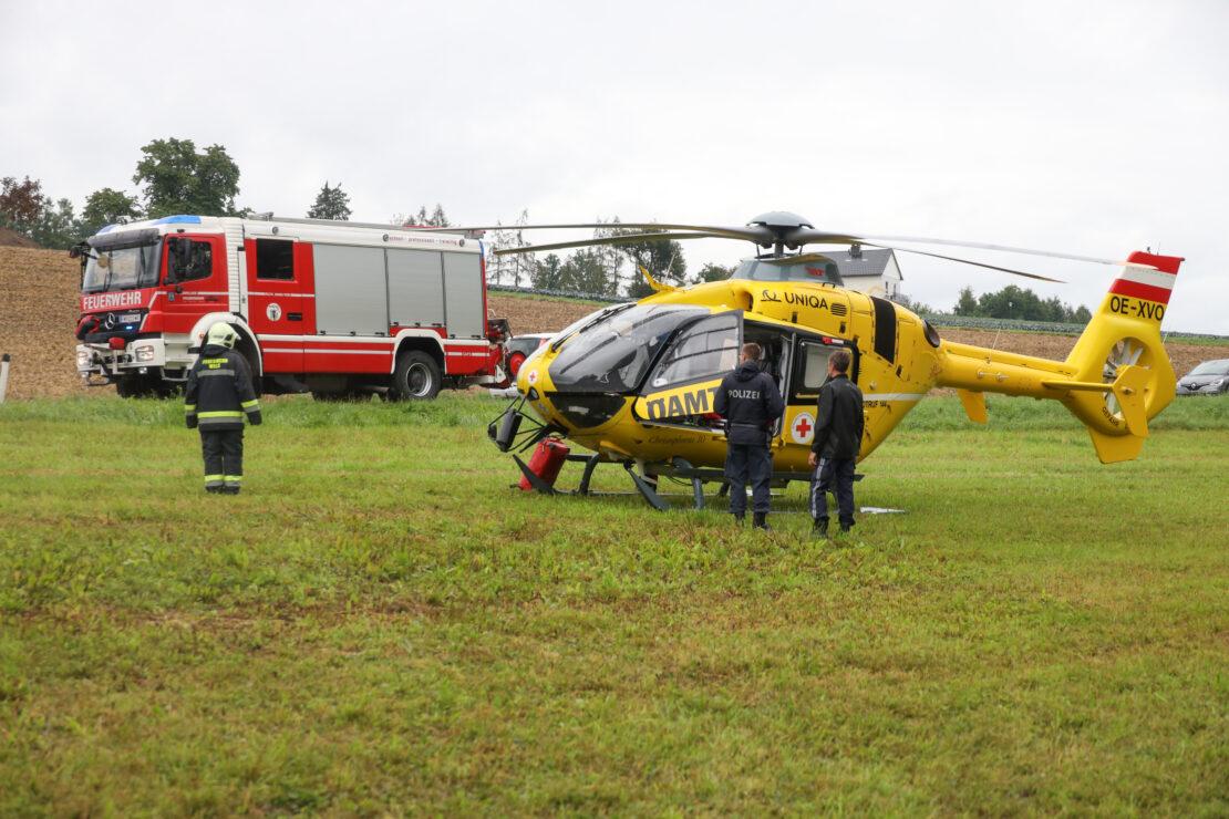 Personenrettung nach schwerem Forstunfall in Wels-Puchberg